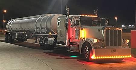 Tanker truck at night